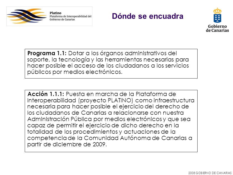 2008 GOBIERNO DE CANARIAS Dónde se encuadra Acción 1.1.1: Puesta en marcha de la Plataforma de Interoperabilidad (proyecto PLATINO) como infraestructu