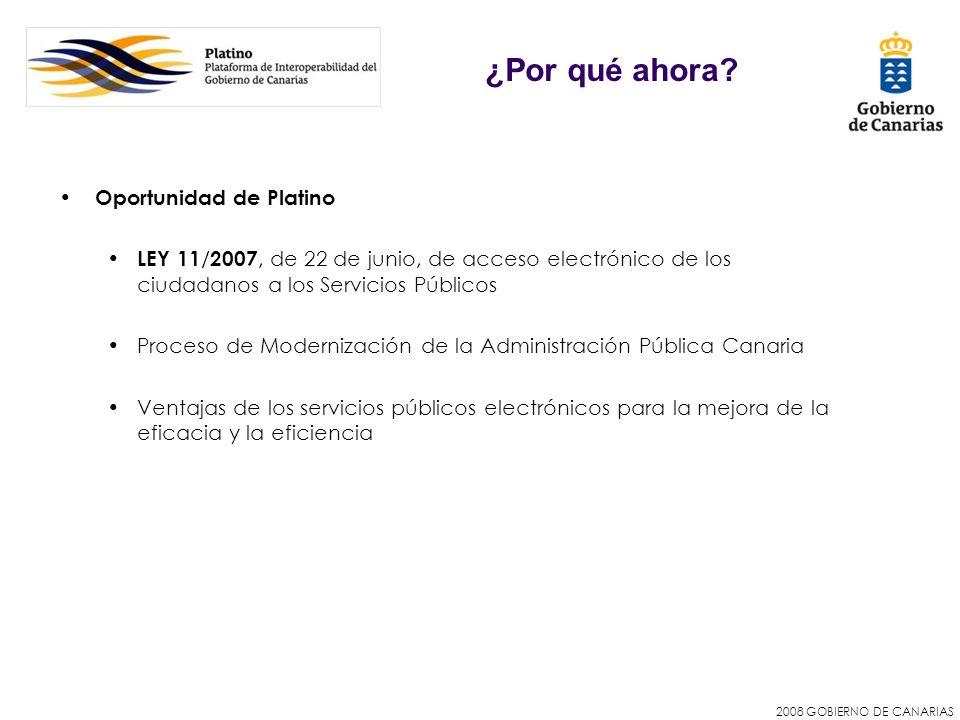 2008 GOBIERNO DE CANARIAS Oportunidad de Platino LEY 11 / 2007, de 22 de junio, de acceso electrónico de los ciudadanos a los Servicios Públicos Proce