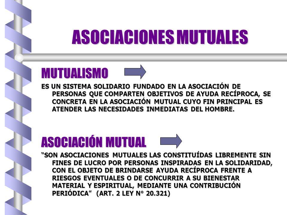 ASOCIACIONES MUTUALES PRINCIPIOS DEL MUTUALISMO b ADHESIÓN VOLUNTARIA b ORGANIZACIÓN DEMOCRÁTICA b NEUTRALIDAD INSTITUCIONAL b CONTRIBUCIÓN ACORDE CON