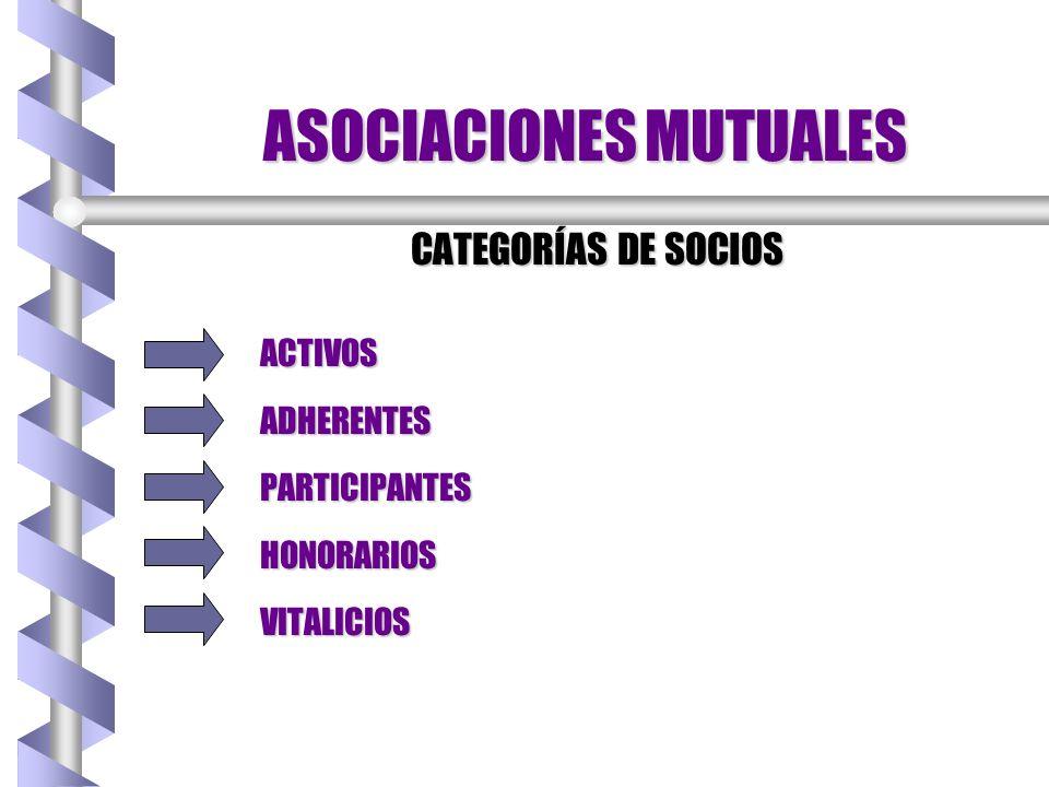 ASOCIACIONES MUTUALES CATEGORÍAS DE SOCIOS ACTIVOSADHERENTESPARTICIPANTESHONORARIOSVITALICIOS