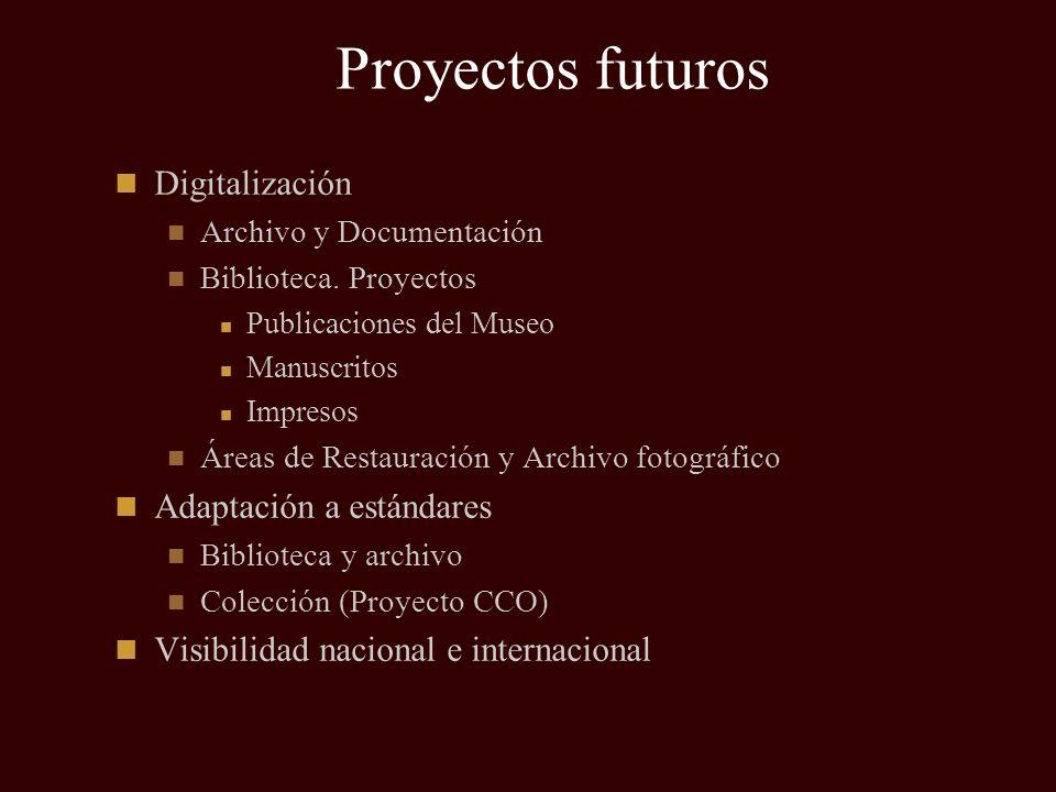 Proyectos futuros Digitalización Archivo y Documentación Biblioteca. Proyectos Publicaciones del Museo Manuscritos Impresos Áreas de Restauración y Ar