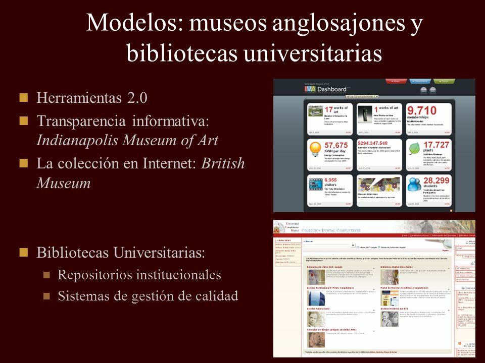 Modelos: museos anglosajones y bibliotecas universitarias Herramientas 2.0 Transparencia informativa: Indianapolis Museum of Art La colección en Inter