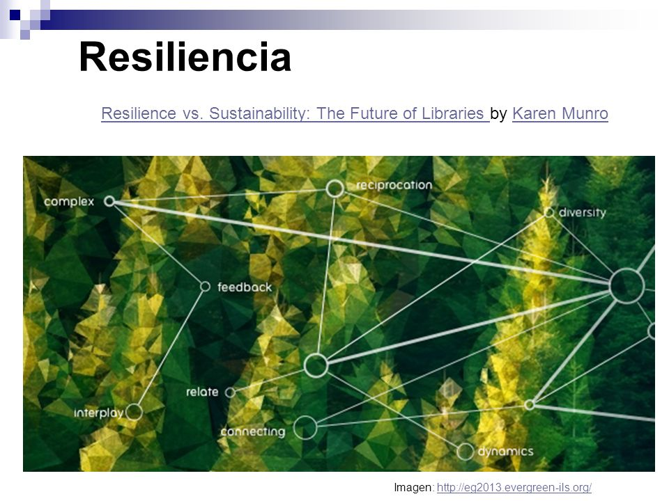Resiliencia Resilience vs. Sustainability: The Future of Libraries Resilience vs. Sustainability: The Future of Libraries by Karen Munro Karen Munro I