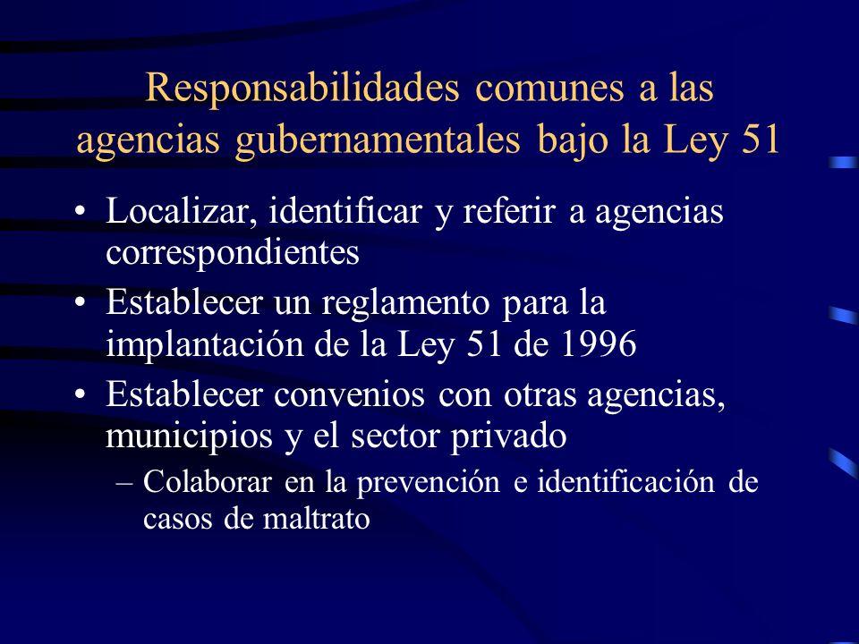Agencias incluidas en la Ley Departamento de Salud, Administración de Servicios de Salud Mental y Contra la Adicción, Departamento de Educación, Depar