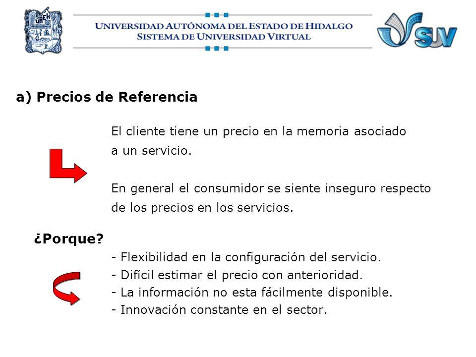 a) Precios de Referencia El cliente tiene un precio en la memoria asociado a un servicio. En general el consumidor se siente inseguro respecto de los