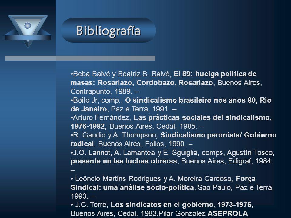 Bibliografía Beba Balvé y Beatriz S. Balvé, El 69: huelga política de masas: Rosariazo, Cordobazo, Rosariazo, Buenos Aires, Contrapunto, 1989. – Boito