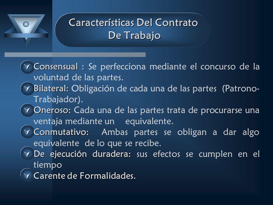 Características Del Contrato De Trabajo Consensual : Consensual : Se perfecciona mediante el concurso de la voluntad de las partes. Bilateral: Bilater