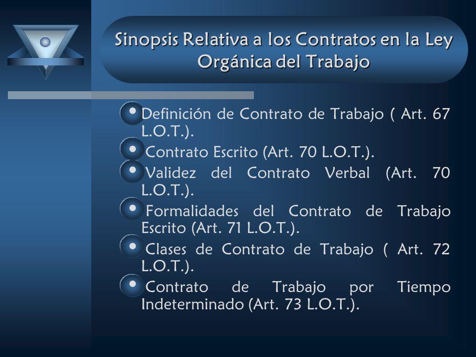 Sinopsis Relativa a los Contratos en la Ley Orgánica del Trabajo Definición de Contrato de Trabajo ( Art. 67 L.O.T.). Contrato Escrito (Art. 70 L.O.T.