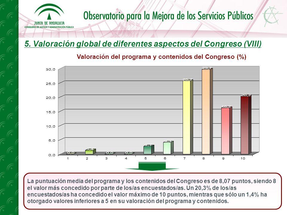 5. Valoración global de diferentes aspectos del Congreso (VIII) La puntuación media del programa y los contenidos del Congreso es de 8,07 puntos, sien