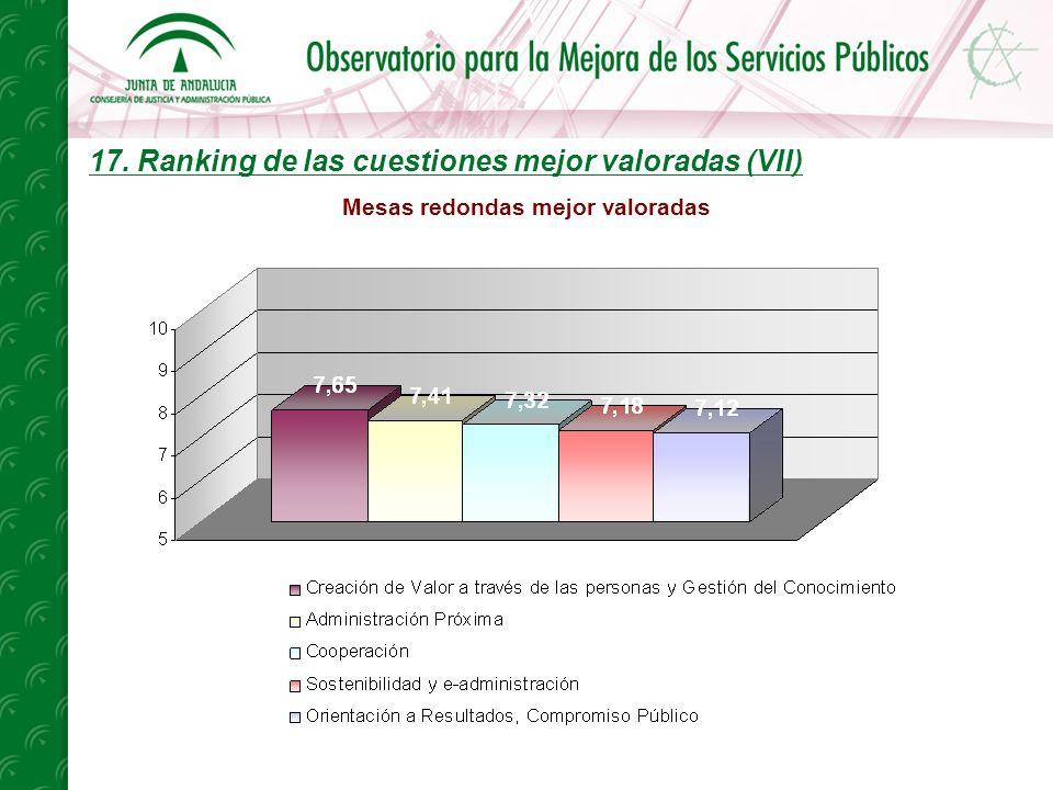 17. Ranking de las cuestiones mejor valoradas (VII) Mesas redondas mejor valoradas
