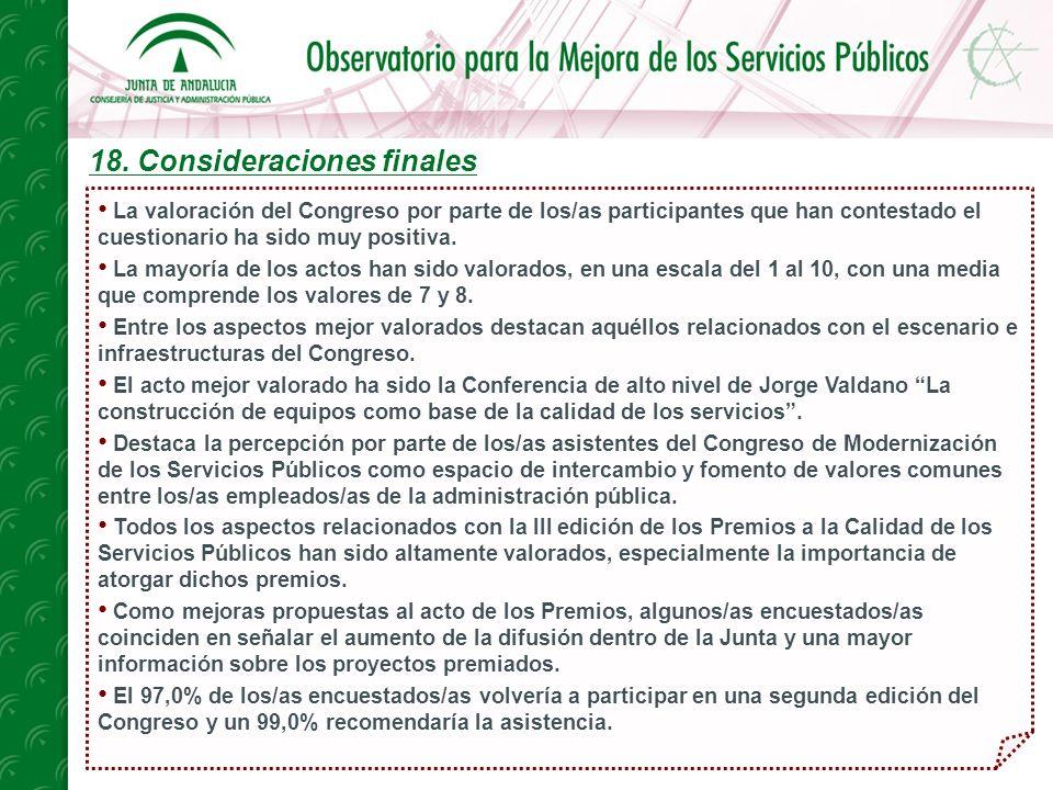 18. Consideraciones finales La valoración del Congreso por parte de los/as participantes que han contestado el cuestionario ha sido muy positiva. La m