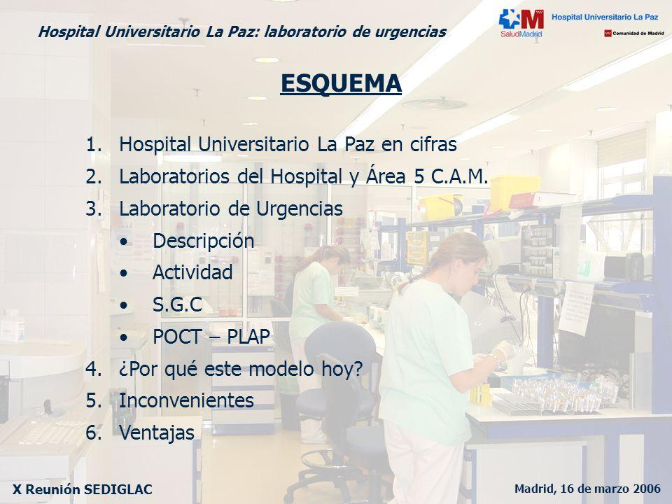 Madrid, 16 de marzo 2006 X Reunión SEDIGLAC Hospital Universitario La Paz: laboratorio de urgencias Hospital Universitario La Paz GENERAL MATERNIDAD INFANTIL TRAUMATOLOGIA 787,000 habitantes 1,328 camas 22 edificios 787,000 habitantes 1,328 camas 22 edificios LABORATORIOS LAB URG