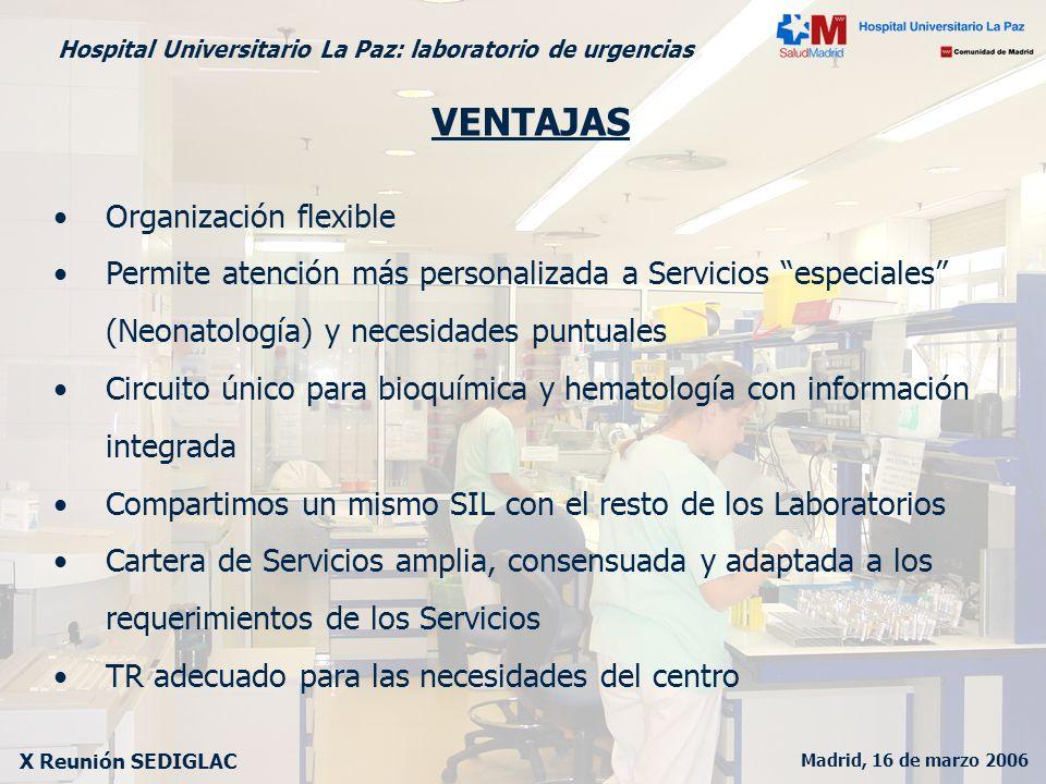 Madrid, 16 de marzo 2006 X Reunión SEDIGLAC Hospital Universitario La Paz: laboratorio de urgencias VENTAJAS Organización flexible Permite atención má