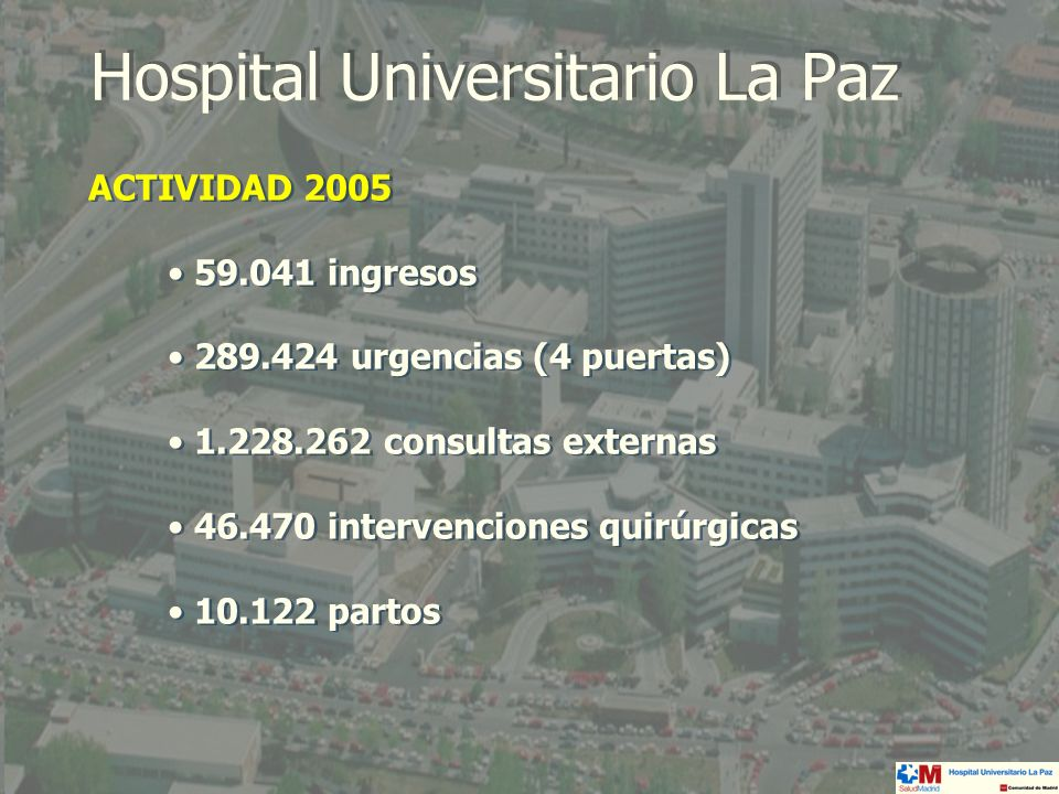 Madrid, 16 de marzo 2006 X Reunión SEDIGLAC Hospital Universitario La Paz: laboratorio de urgencias Hospital Universitario La Paz ACTIVIDAD 2005 59.04