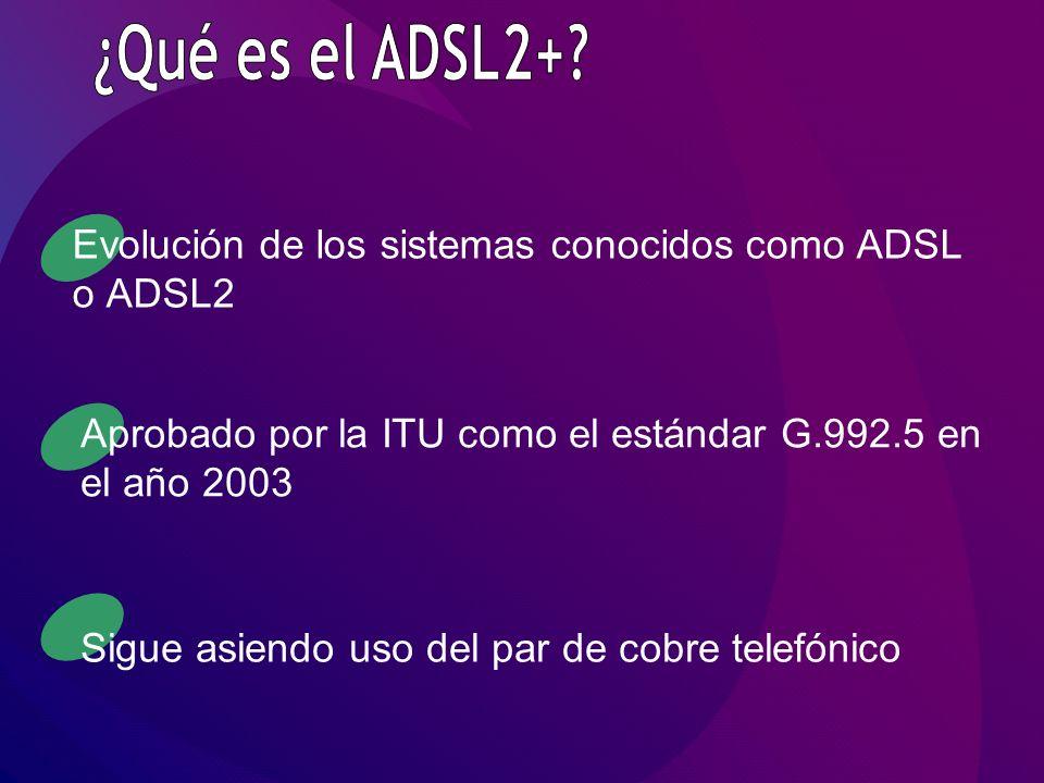 Evolución de los sistemas conocidos como ADSL o ADSL2 Aprobado por la ITU como el estándar G.992.5 en el año 2003 Sigue asiendo uso del par de cobre telefónico