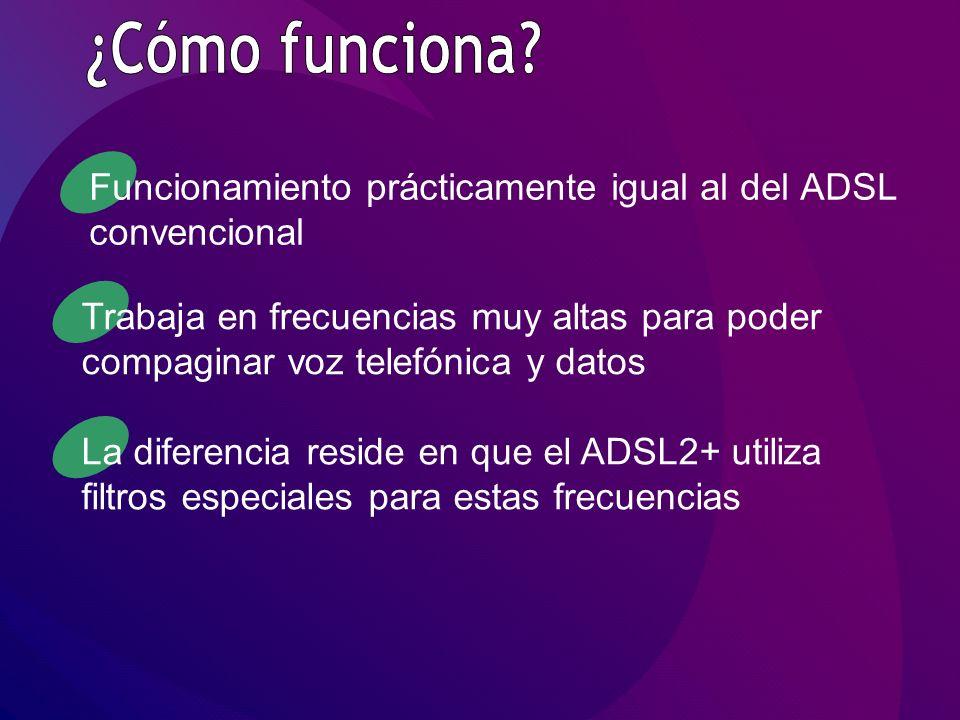 Funcionamiento prácticamente igual al del ADSL convencional Trabaja en frecuencias muy altas para poder compaginar voz telefónica y datos La diferencia reside en que el ADSL2+ utiliza filtros especiales para estas frecuencias