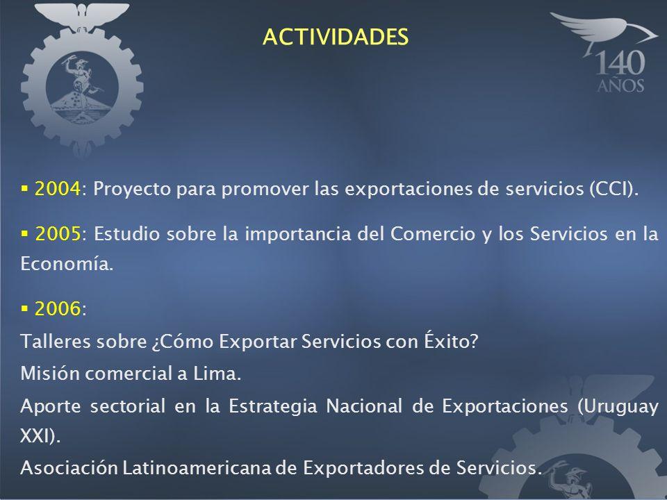 2004: Proyecto para promover las exportaciones de servicios (CCI).