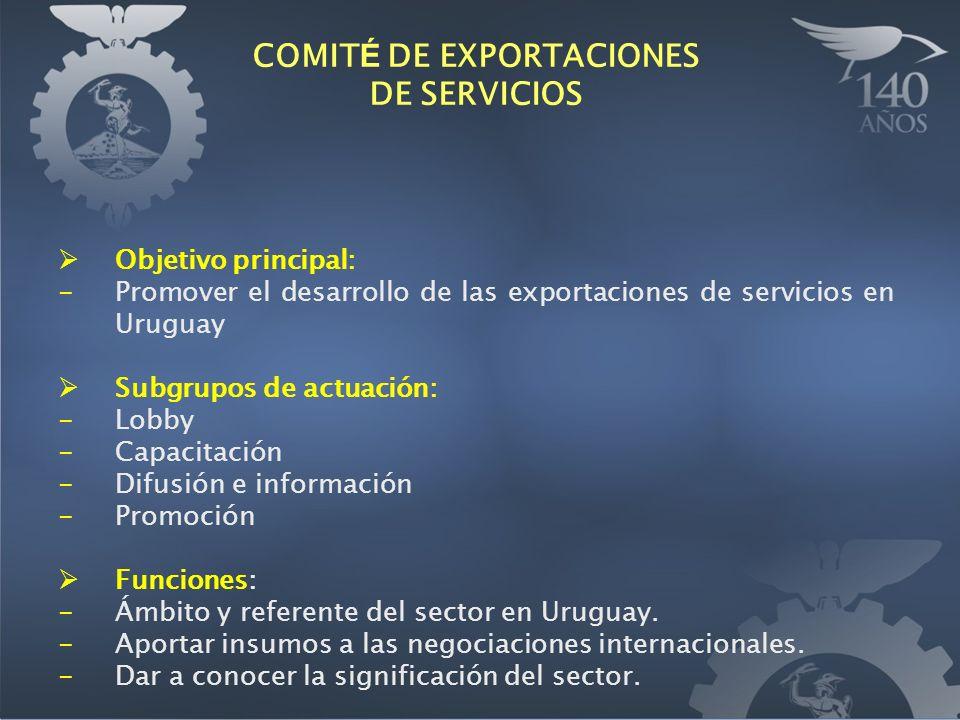Objetivo principal: -Promover el desarrollo de las exportaciones de servicios en Uruguay Subgrupos de actuación: -Lobby -Capacitación -Difusión e información -Promoción Funciones: -Ámbito y referente del sector en Uruguay.