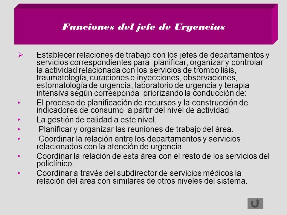 Funciones del jefe de Urgencias Establecer relaciones de trabajo con los jefes de departamentos y servicios correspondientes para planificar, organiza
