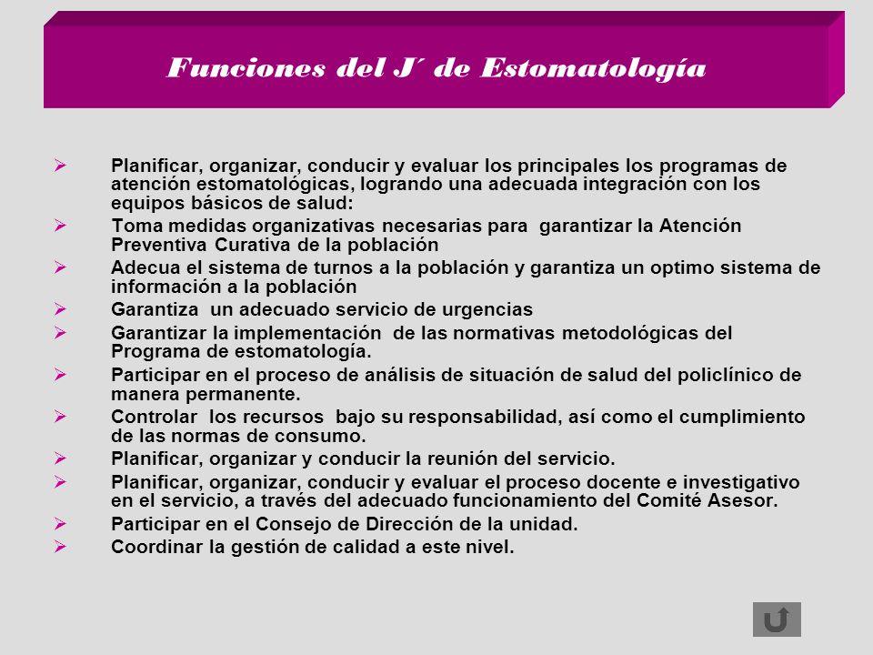 Funciones del J´ de Estomatología Planificar, organizar, conducir y evaluar los principales los programas de atención estomatológicas, logrando una ad