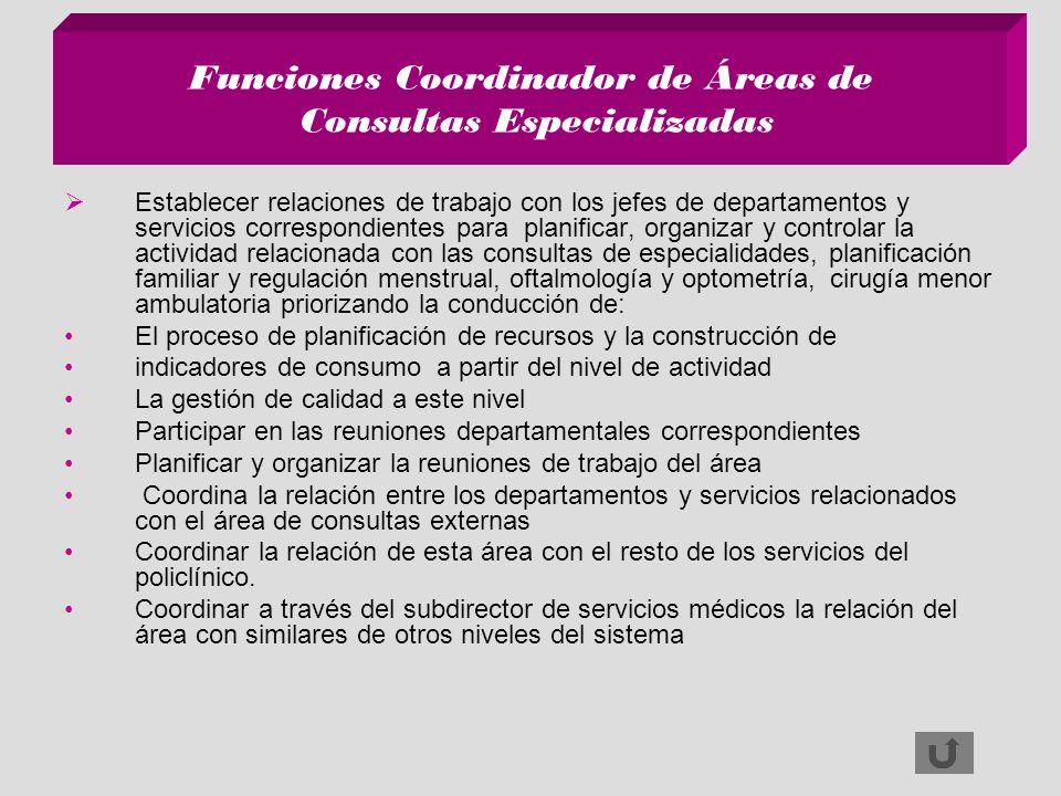 Funciones Coordinador de Áreas de Consultas Especializadas Establecer relaciones de trabajo con los jefes de departamentos y servicios correspondiente