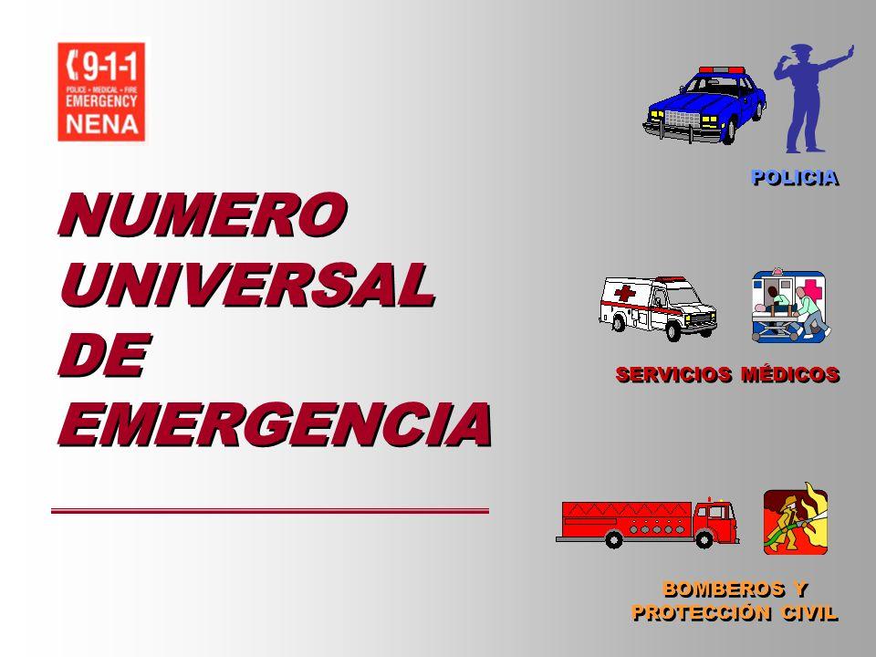 NUMERO UNIVERSAL DE EMERGENCIA SERVICIOS MÉDICOS BOMBEROS Y PROTECCIÓN CIVIL BOMBEROS Y PROTECCIÓN CIVIL POLICIA