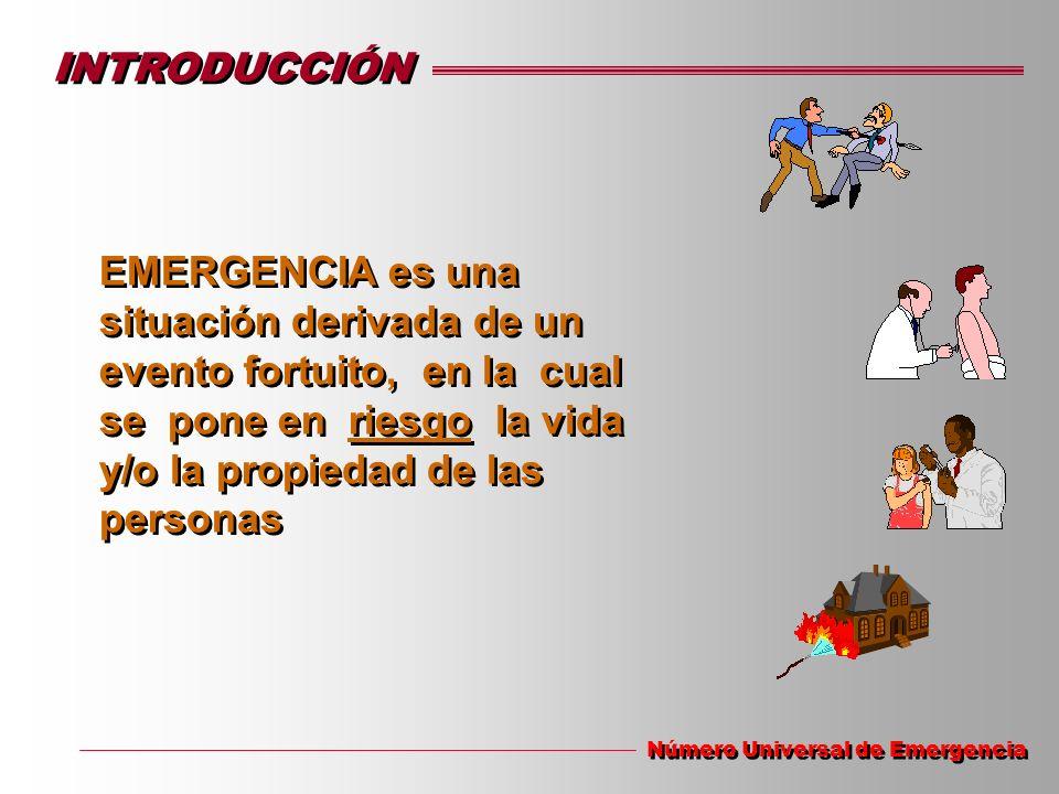 INTRODUCCIÓN EMERGENCIA es una situación derivada de un evento fortuito, en la cual se pone en riesgo la vida y/o la propiedad de las personas Número