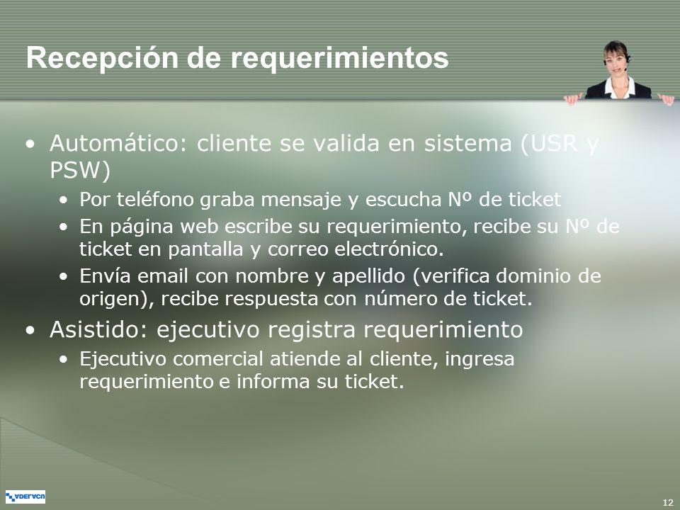 12 Recepción de requerimientos Automático: cliente se valida en sistema (USR y PSW) Por teléfono graba mensaje y escucha Nº de ticket En página web es