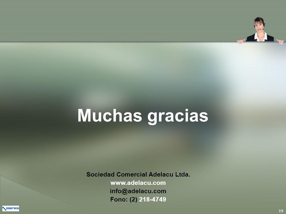 19 Muchas gracias Sociedad Comercial Adelacu Ltda. www.adelacu.com info@adelacu.com Fono: (2) 218-4749