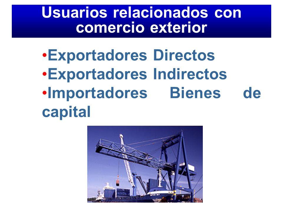 Exportadores Directos Exportadores Indirectos Importadores Bienes de capital Usuarios relacionados con comercio exterior