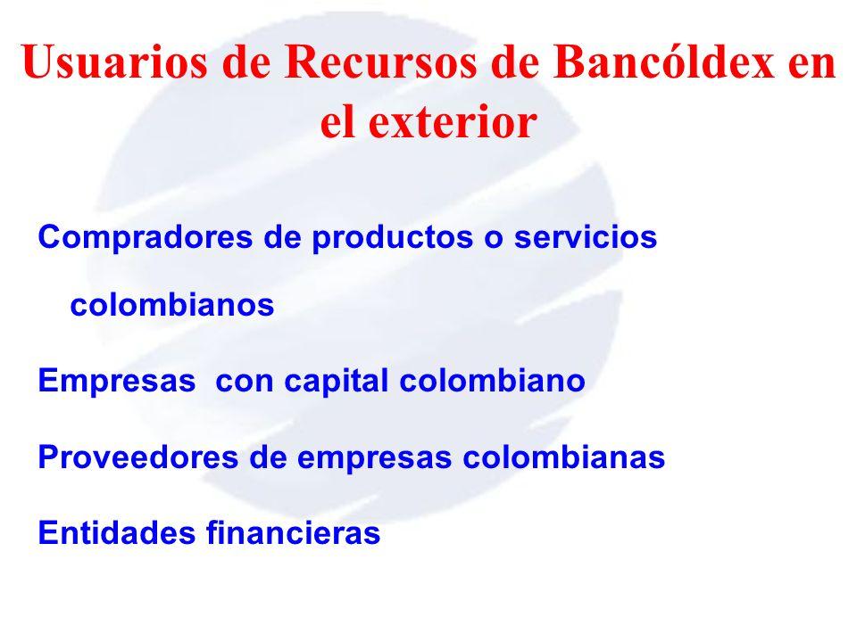 Compradores de productos o servicios colombianos Empresas con capital colombiano Proveedores de empresas colombianas Entidades financieras Usuarios de