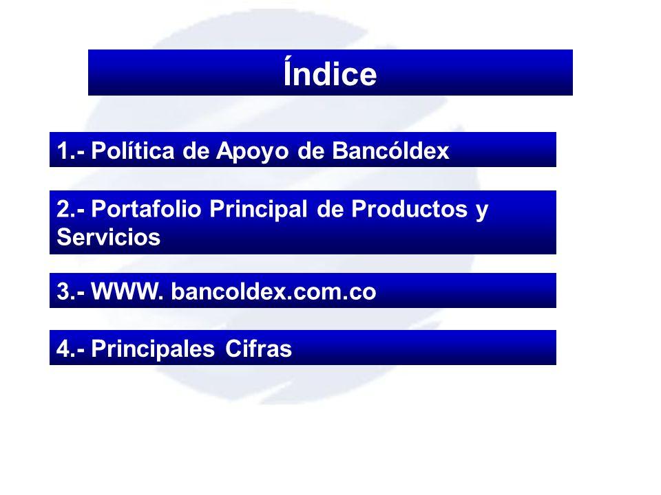 Índice 1.- Política de Apoyo de Bancóldex 3.- WWW. bancoldex.com.co 2.- Portafolio Principal de Productos y Servicios 4.- Principales Cifras
