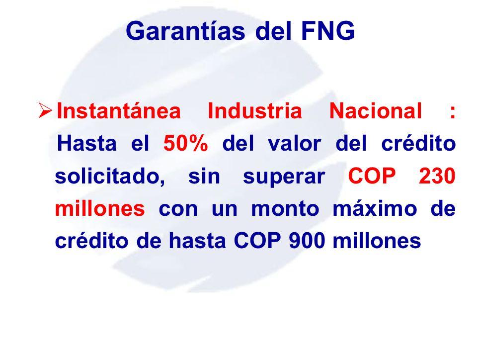 Instantánea Industria Nacional : Hasta el 50% del valor del crédito solicitado, sin superar COP 230 millones con un monto máximo de crédito de hasta C