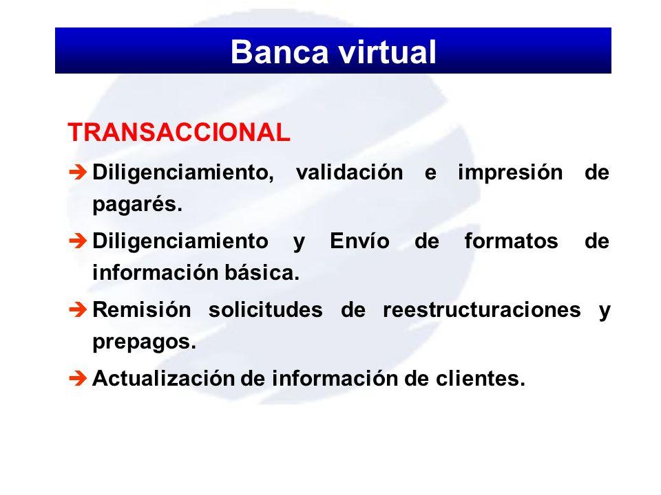 TRANSACCIONAL è Diligenciamiento, validación e impresión de pagarés. è Diligenciamiento y Envío de formatos de información básica. è Remisión solicitu