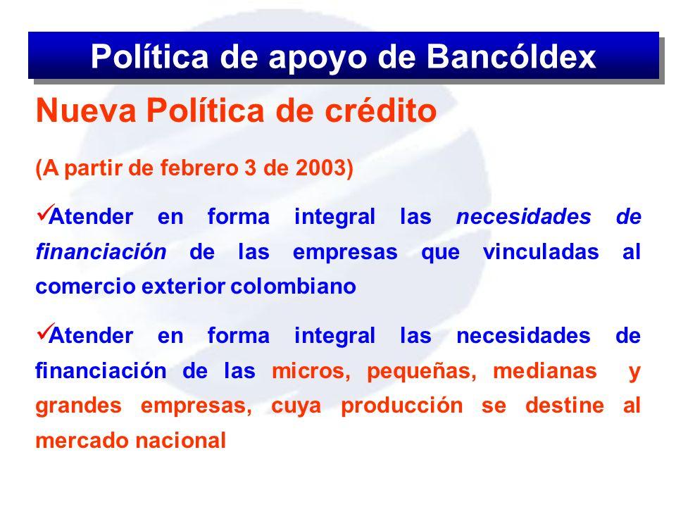Nueva Política de crédito (A partir de febrero 3 de 2003) Atender en forma integral las necesidades de financiación de las empresas que vinculadas al