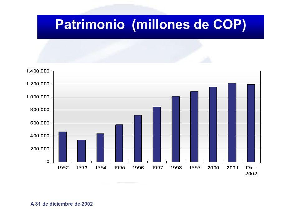 Patrimonio (millones de COP) A 31 de diciembre de 2002