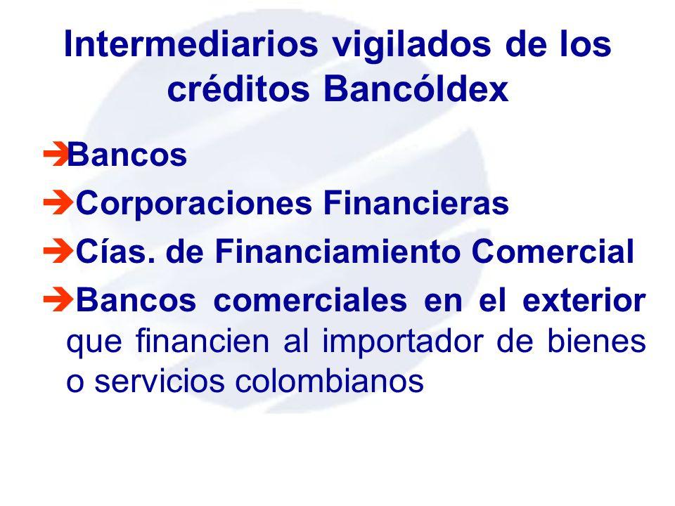 Intermediarios vigilados de los créditos Bancóldex èBancos è Corporaciones Financieras è Cías. de Financiamiento Comercial è Bancos comerciales en el