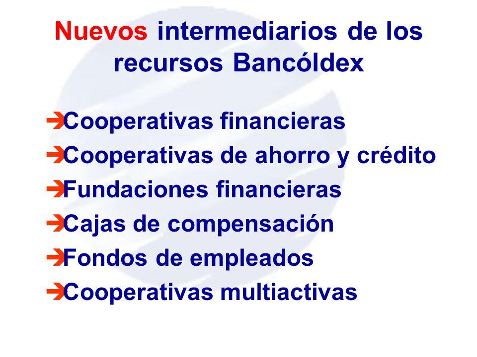 Nuevos intermediarios de los recursos Bancóldex èCooperativas financieras èCooperativas de ahorro y crédito èFundaciones financieras èCajas de compens