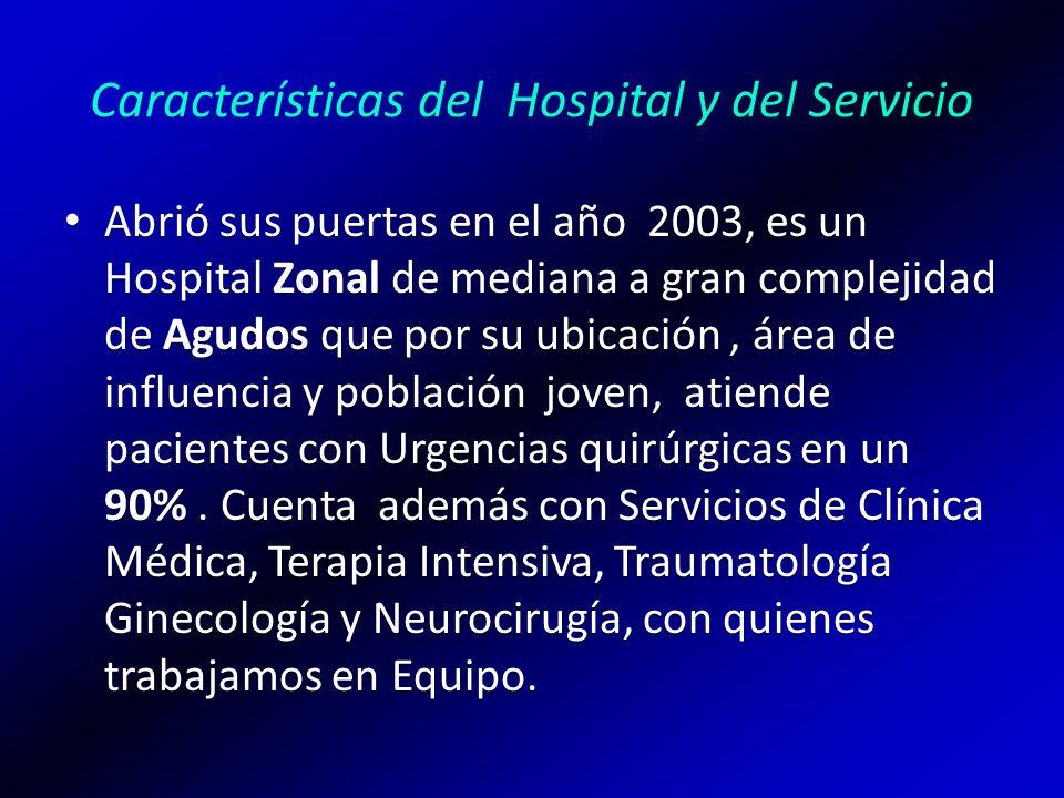 Características del Hospital y del Servicio Abrió sus puertas en el año 2003, es un Hospital Zonal de mediana a gran complejidad de Agudos que por su