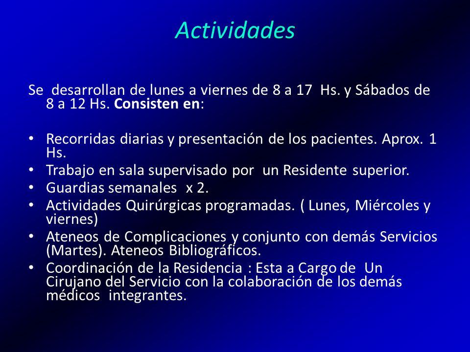 Actividades Se desarrollan de lunes a viernes de 8 a 17 Hs. y Sábados de 8 a 12 Hs. Consisten en: Recorridas diarias y presentación de los pacientes.
