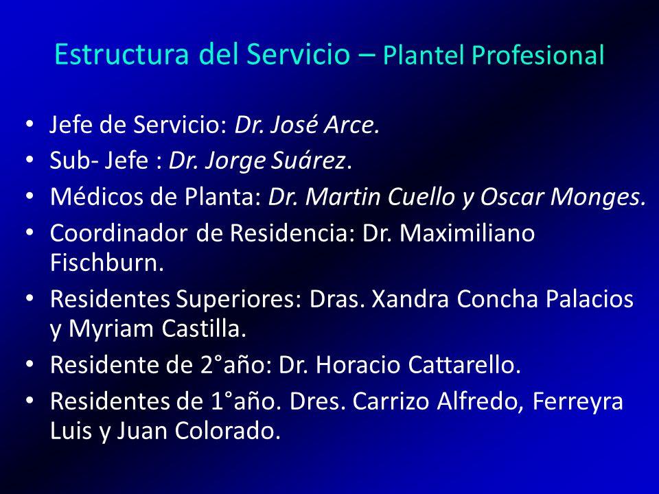 Estructura del Servicio – Plantel Profesional Jefe de Servicio: Dr. José Arce. Sub- Jefe : Dr. Jorge Suárez. Médicos de Planta: Dr. Martin Cuello y Os