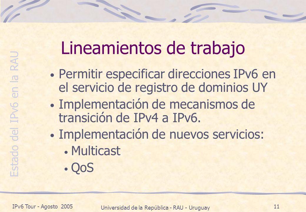 Estado del IPv6 en la RAU IPv6 Tour - Agosto 2005 Universidad de la República - RAU - Uruguay 11 Lineamientos de trabajo Permitir especificar direcciones IPv6 en el servicio de registro de dominios UY Implementación de mecanismos de transición de IPv4 a IPv6.