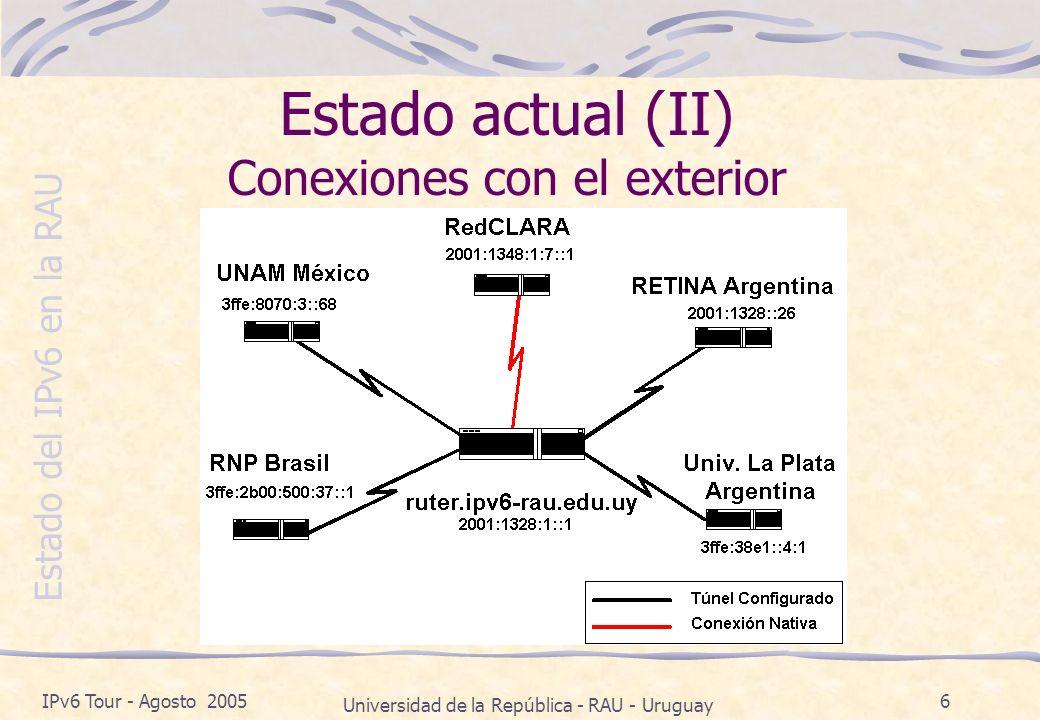 Estado del IPv6 en la RAU IPv6 Tour - Agosto 2005 Universidad de la República - RAU - Uruguay 6 Estado actual (II) Conexiones con el exterior
