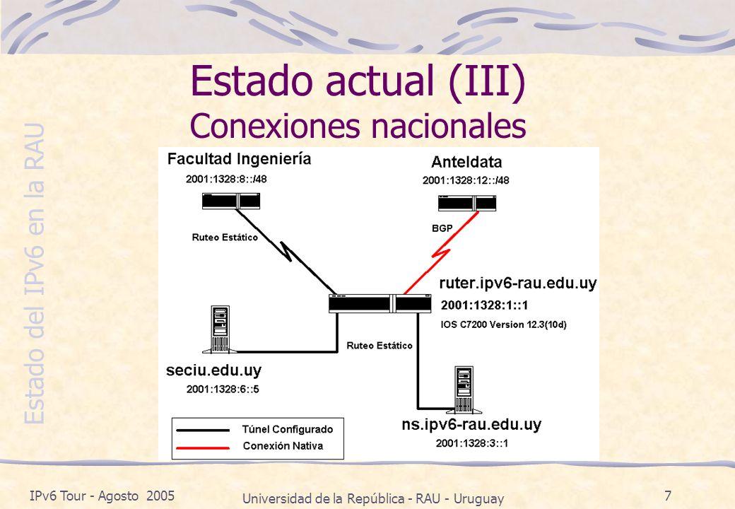 Estado del IPv6 en la RAU IPv6 Tour - Agosto 2005 Universidad de la República - RAU - Uruguay 7 Estado actual (III) Conexiones nacionales