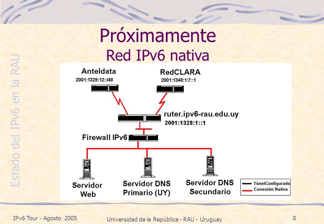 Estado del IPv6 en la RAU IPv6 Tour - Agosto 2005 Universidad de la República - RAU - Uruguay 8 Próximamente Red IPv6 nativa