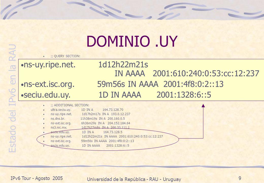 Estado del IPv6 en la RAU IPv6 Tour - Agosto 2005 Universidad de la República - RAU - Uruguay 10 DOMINIO NET.UY ;; QUERY SECTION: ;; net.uy, type = NS, class = IN ;; ANSWER SECTION: net.uy.