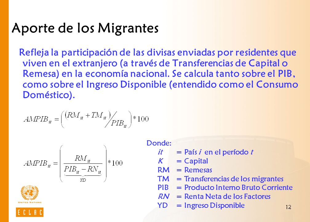 12 Aporte de los Migrantes Refleja la participación de las divisas enviadas por residentes que viven en el extranjero (a través de Transferencias de Capital o Remesa) en la economía nacional.