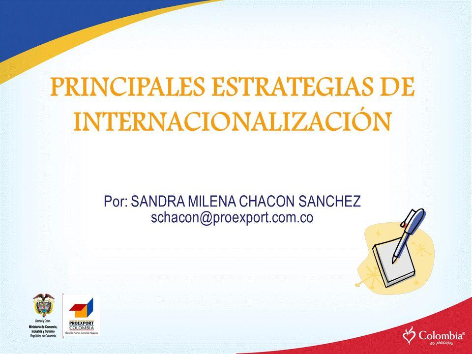 PRINCIPALES ESTRATEGIAS DE INTERNACIONALIZACIÓN Por: SANDRA MILENA CHACON SANCHEZ schacon@proexport.com.co