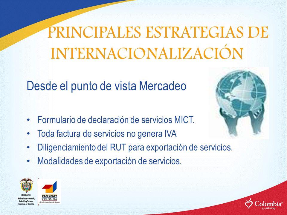 Desde el punto de vista Mercadeo Formulario de declaración de servicios MICT. Toda factura de servicios no genera IVA Diligenciamiento del RUT para ex