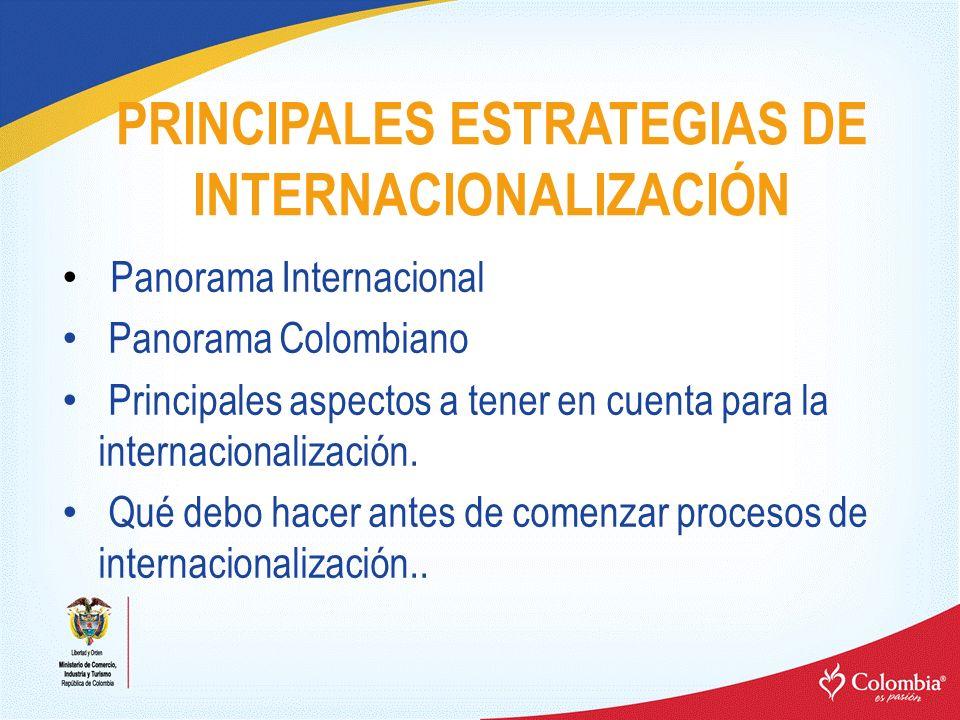 PRINCIPALES ESTRATEGIAS DE INTERNACIONALIZACIÓN Panorama Internacional Panorama Colombiano Principales aspectos a tener en cuenta para la internaciona